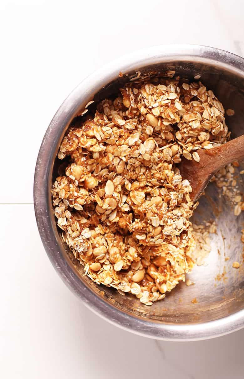 Granola Bars in a metal bowl
