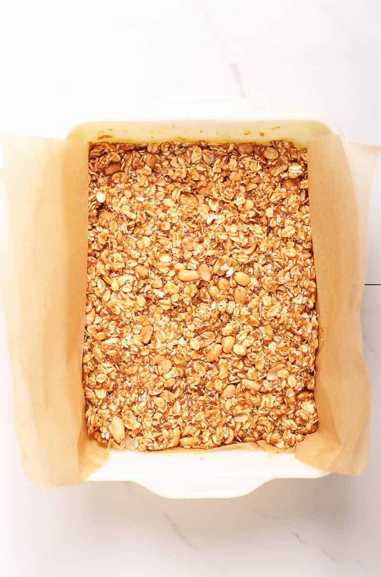 Granola bars pressed into a casserole dish