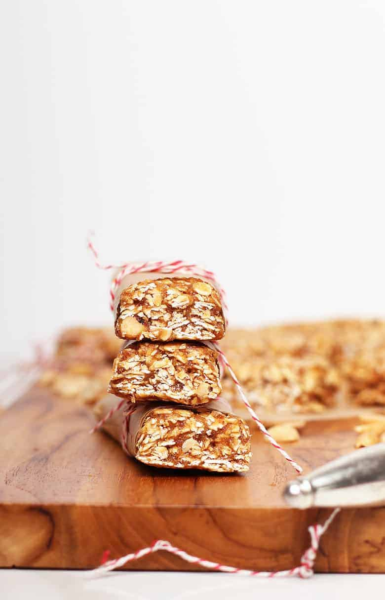 Stack of peanut butter granola bars