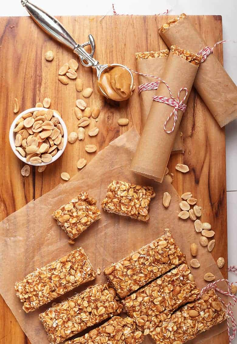 Chewy Granola Bars on a wooden platter