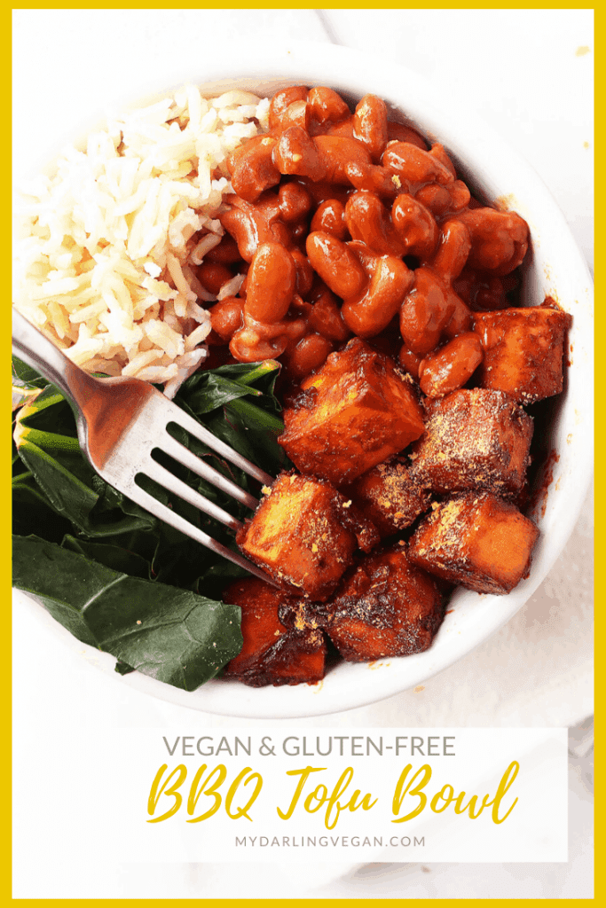 A hearty dinner bowl made with BBQ tofu, black-eyed peas, and collard greens, all slathered in homemade BBQ Sauce. Made in just 30 minutes for a delicious vegan and gluten-free weeknight meal.