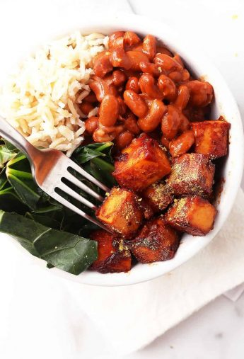 BBQ tofu with Swiss chard and beans