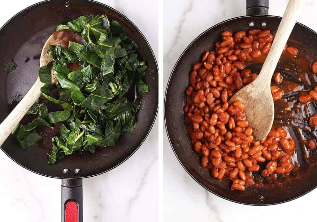 Swiss chard and pinto beans in a skillet