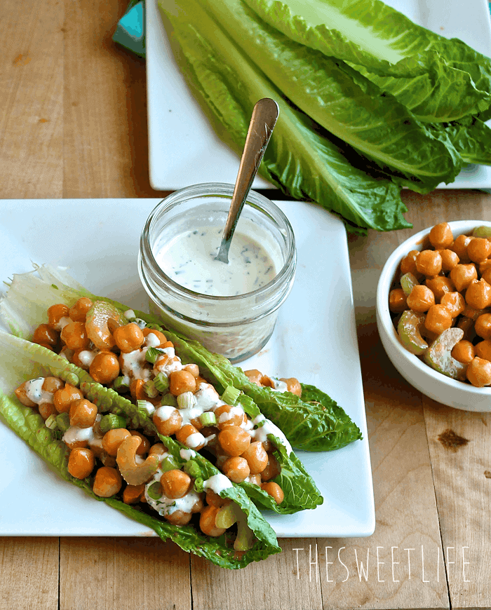 Vegan Buffalo Chickpea Lettuce Wraps