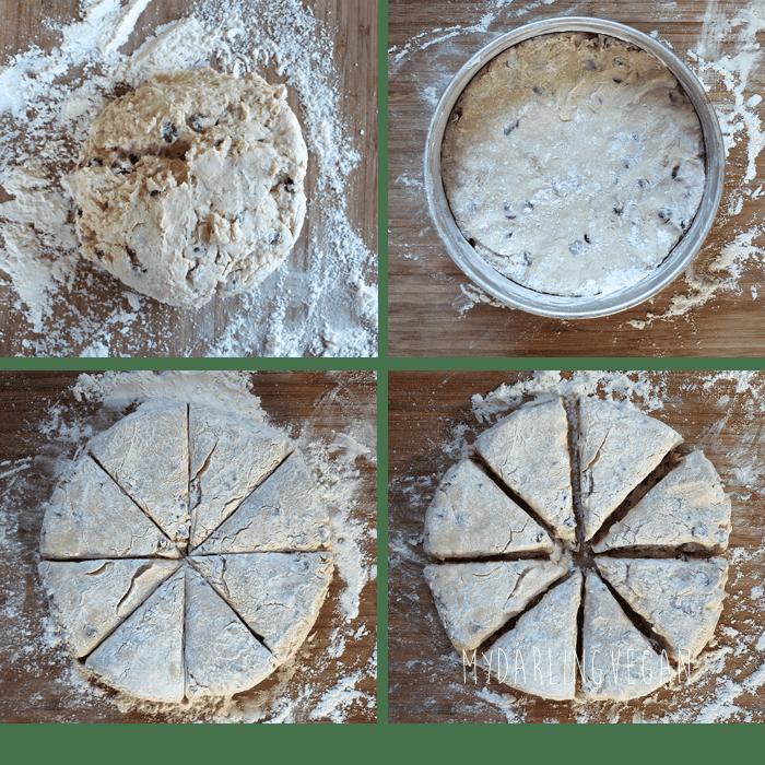 Raw scones cut into triangles