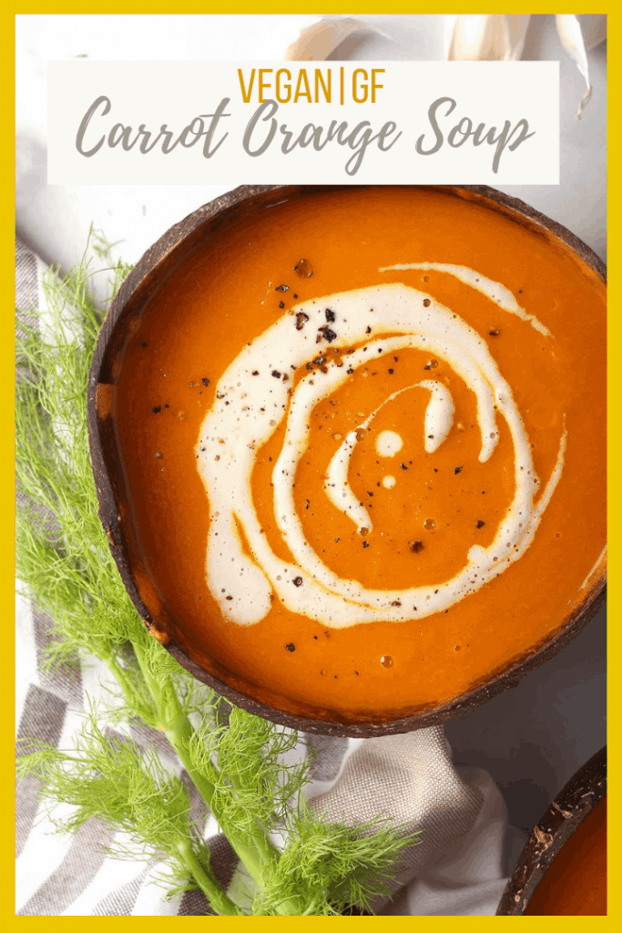 The Carrot and Orange Soup is a rich and creamy autumn meal made with fresh harvest vegetables, fennel, and dairy-free cashew cream.