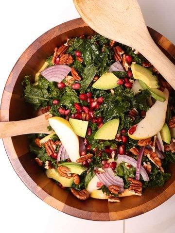 Massaged Kale Salad in salad bowl