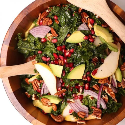 Massaged Kale Salad in salad bowl