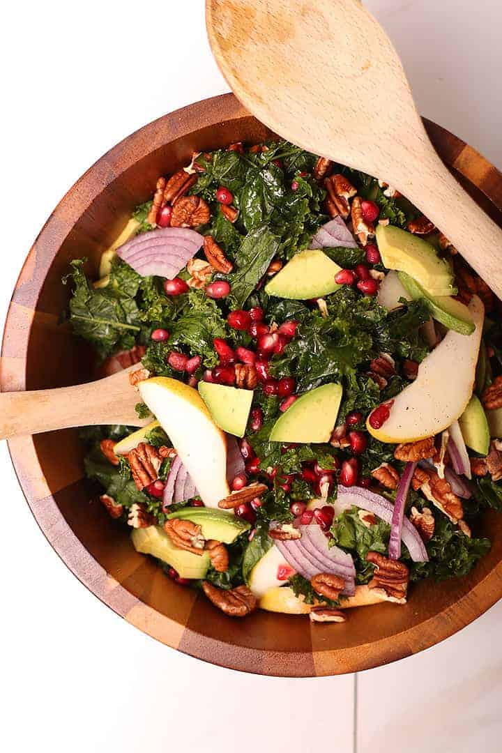 Finished salad in wooden salad bowl
