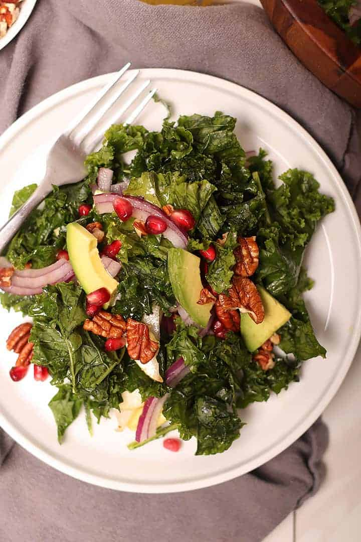 Massaged Kale Salad on white plate