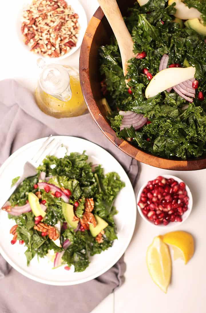 Massaged Kale Salad on white plate