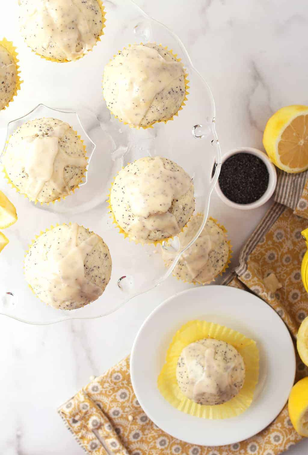 Lemon Poppy Seed Muffins on cake stand