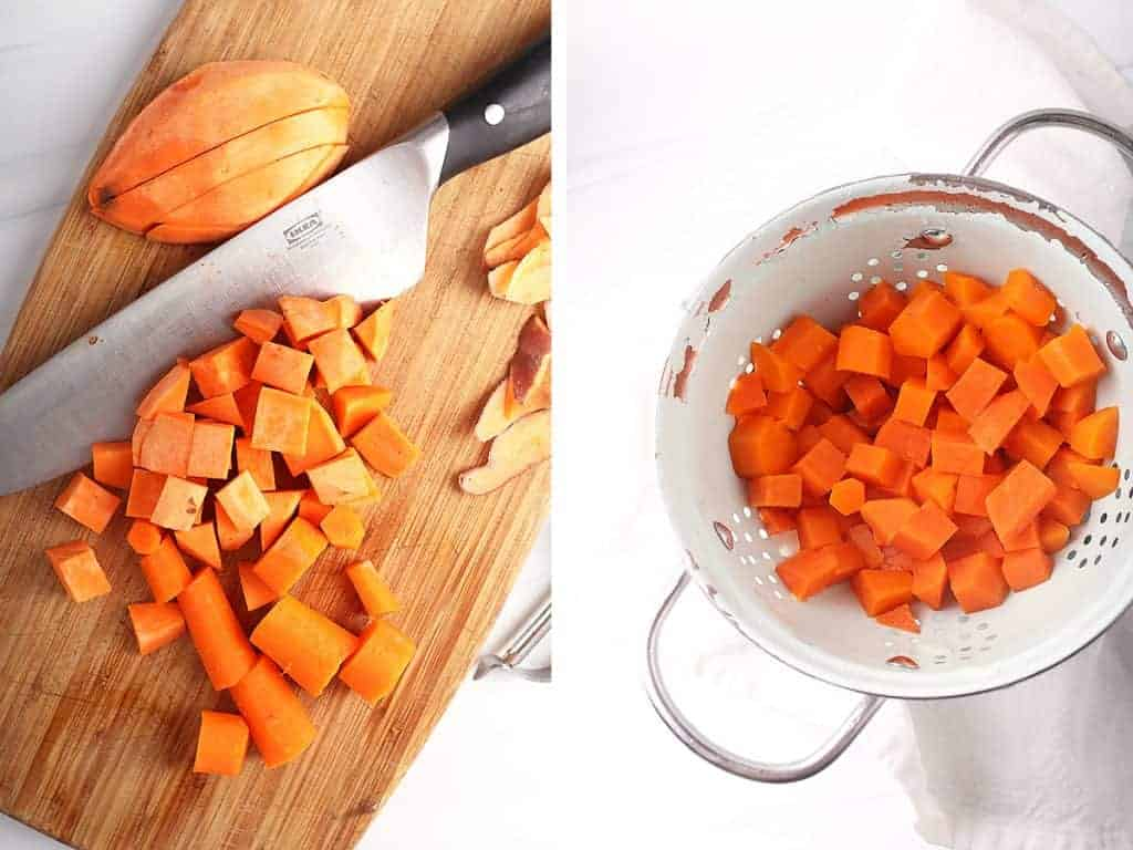Chopped sweet potatoes and carrots