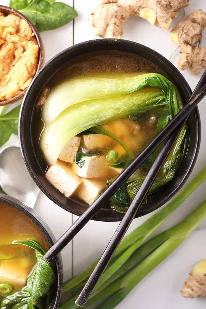 Overhead bowl of miso soup