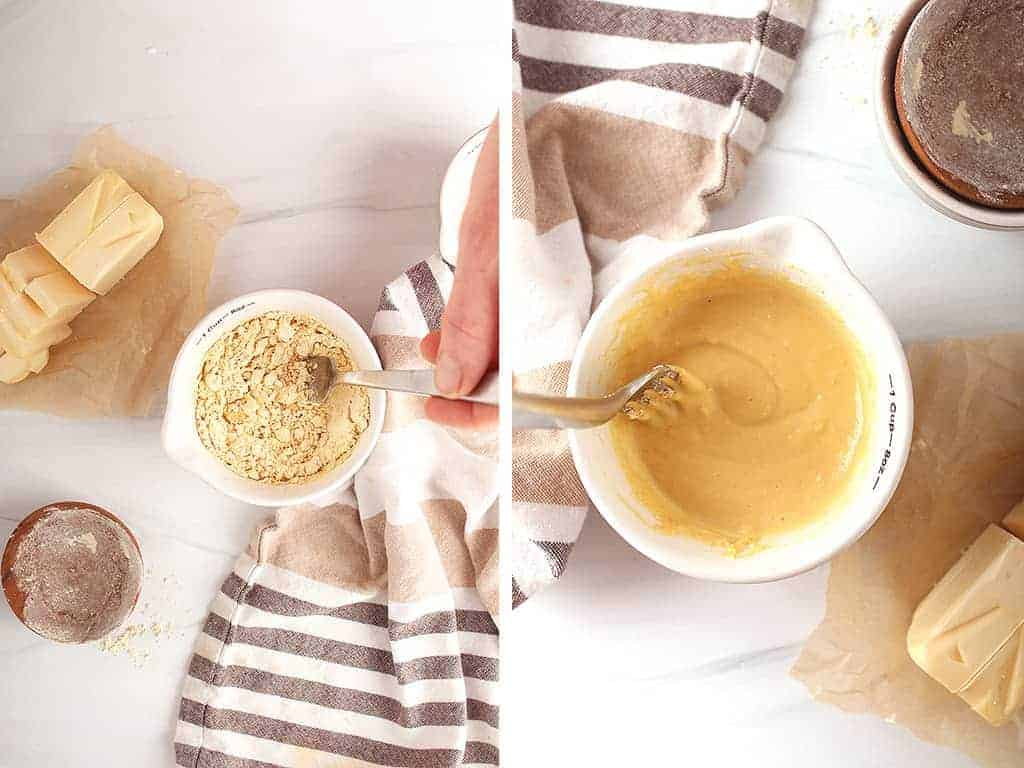 Chickpea flour and water mixed together in a small bowl to created a chickpea flour egg.