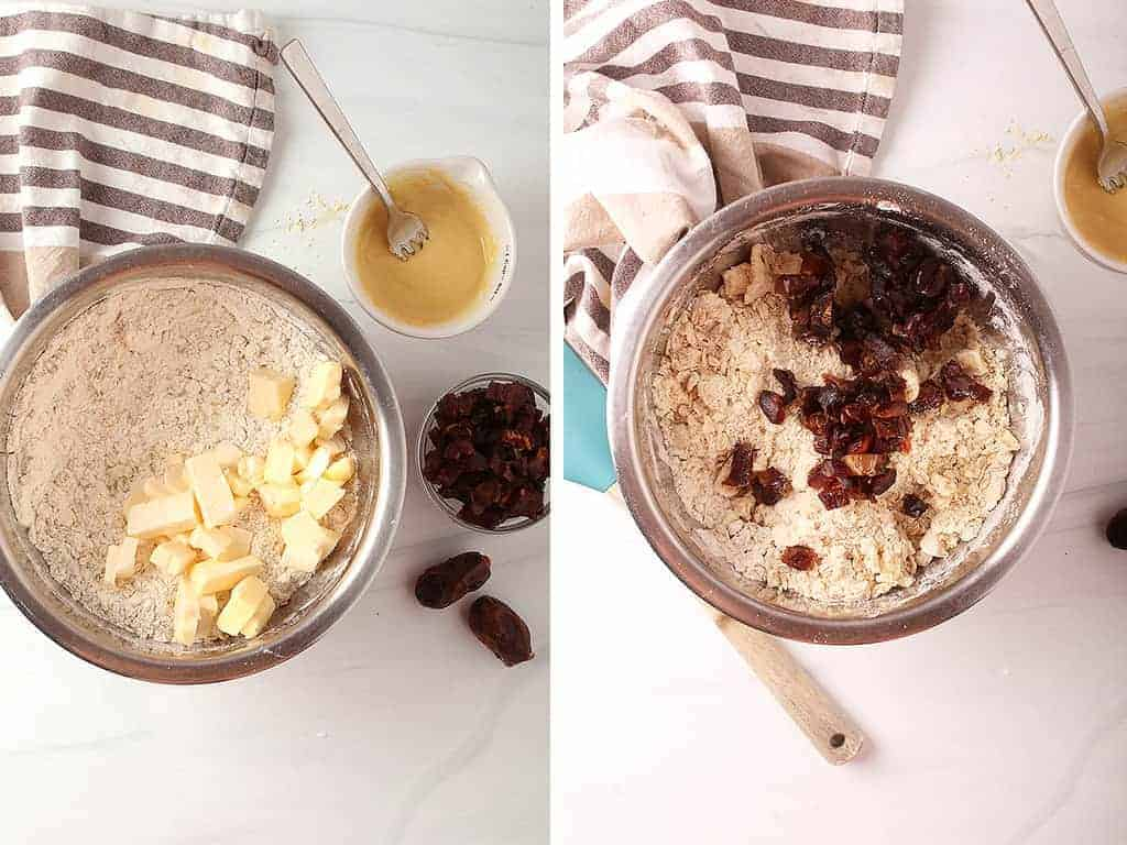 Left: Flour and oats in a metal bowl with chunks of butter cut in. Right: Mixed up batter with date pieces scattered over the top.