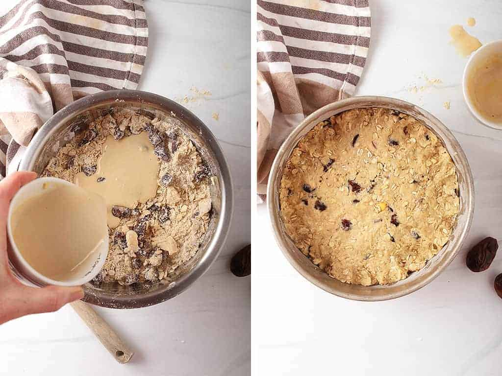 """Finished scone dough pressed into an 8"""" cake pan."""