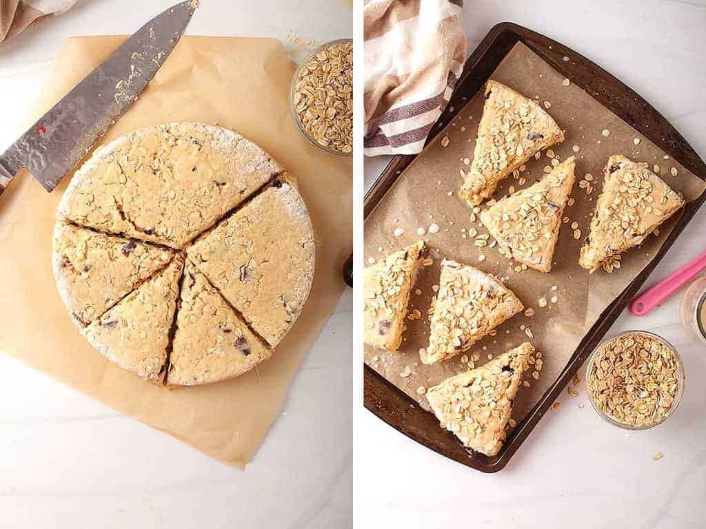 Scones cut into triangles and placed onto a parchment-lined baking sheet.