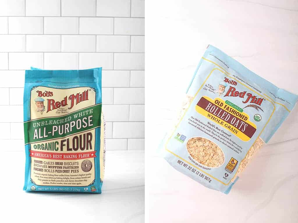 Left: Bag of Bob's Red Mill All-Purpose Flour. Right: Bag of Bob's Red Mill Old Fashioned Oats
