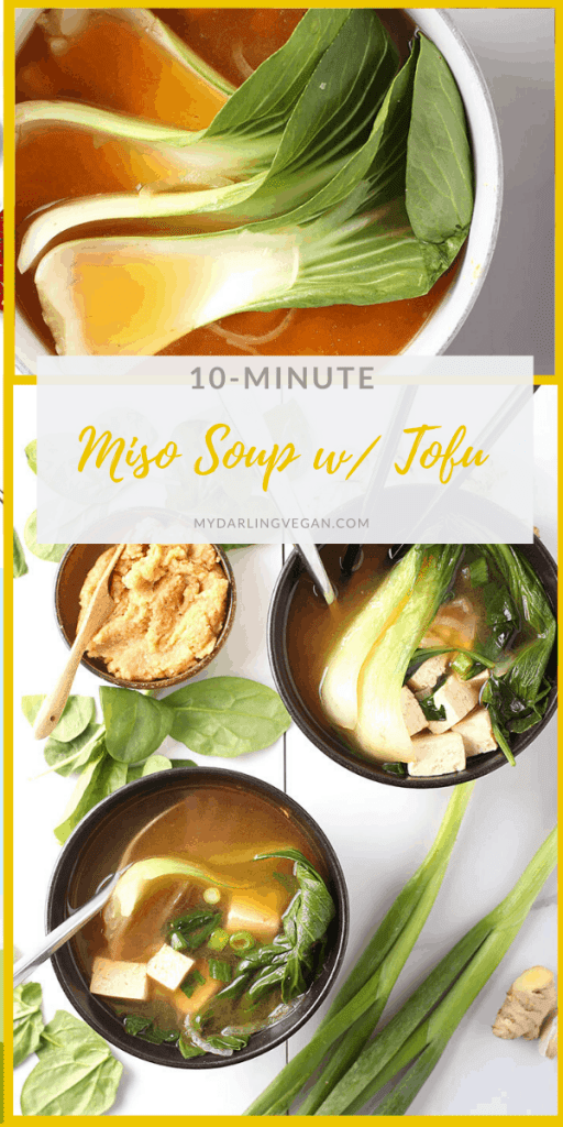 A healing and immune-boosting vegan miso soup full of flavor and packed with green veggies and sprouted tofu for a wholesome vegan and gluten-free meal. Make it in just 10 minutes!