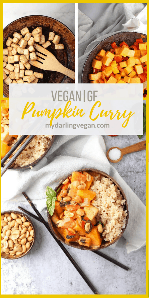 Get your pumpkin fix on with this Thai Pumpkin Curry. It is filled with fresh pumpkin, tofu, and red bell peppers and served with rice for a delicious and easy meal any day of the week.