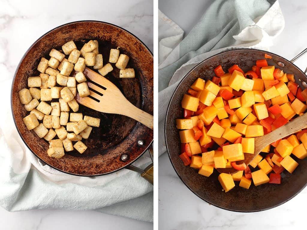 Sautéed tofu, pumpkin, and bell peppers