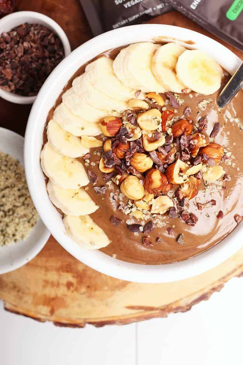Chocolate Smoothie Bowl with bananas and hazelnuts