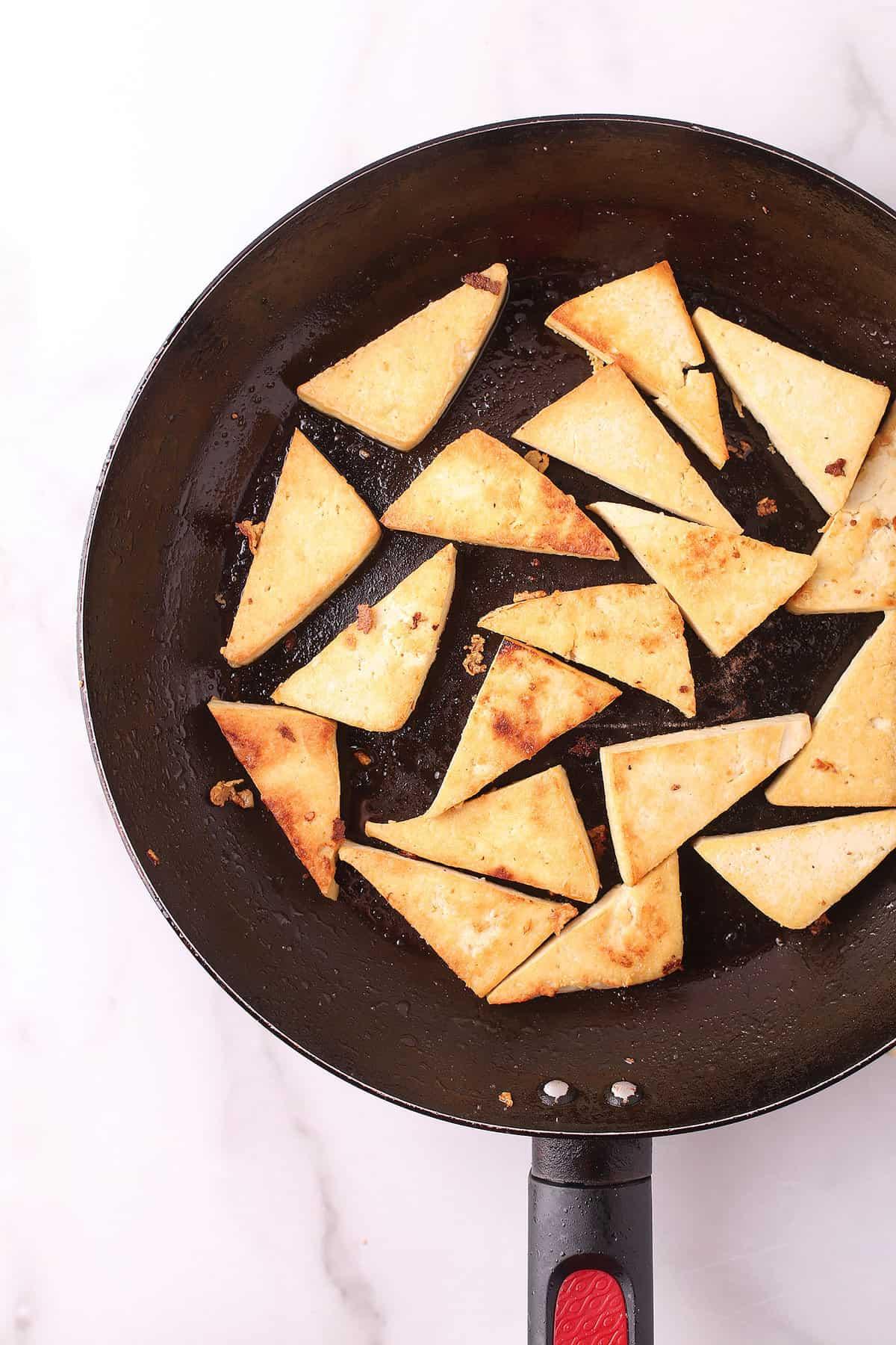 Pan-fried tofu triangles