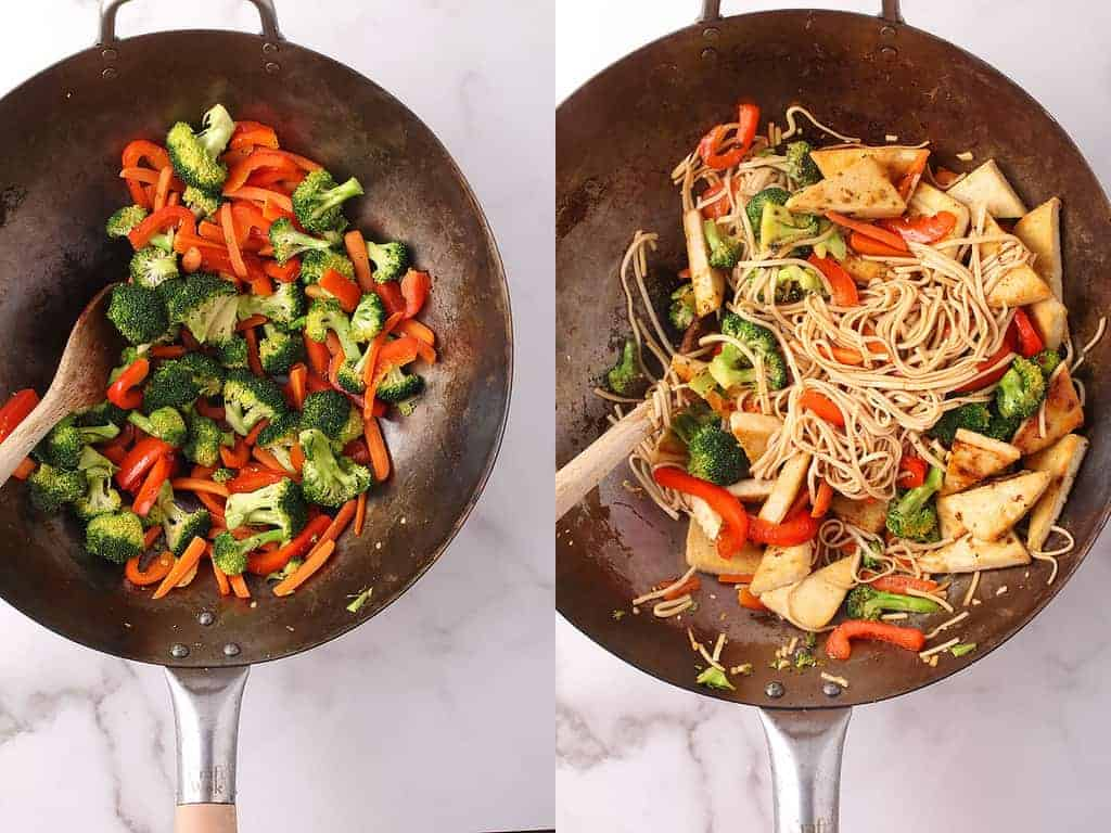 Broccoli, peppers, and carrots in large wok