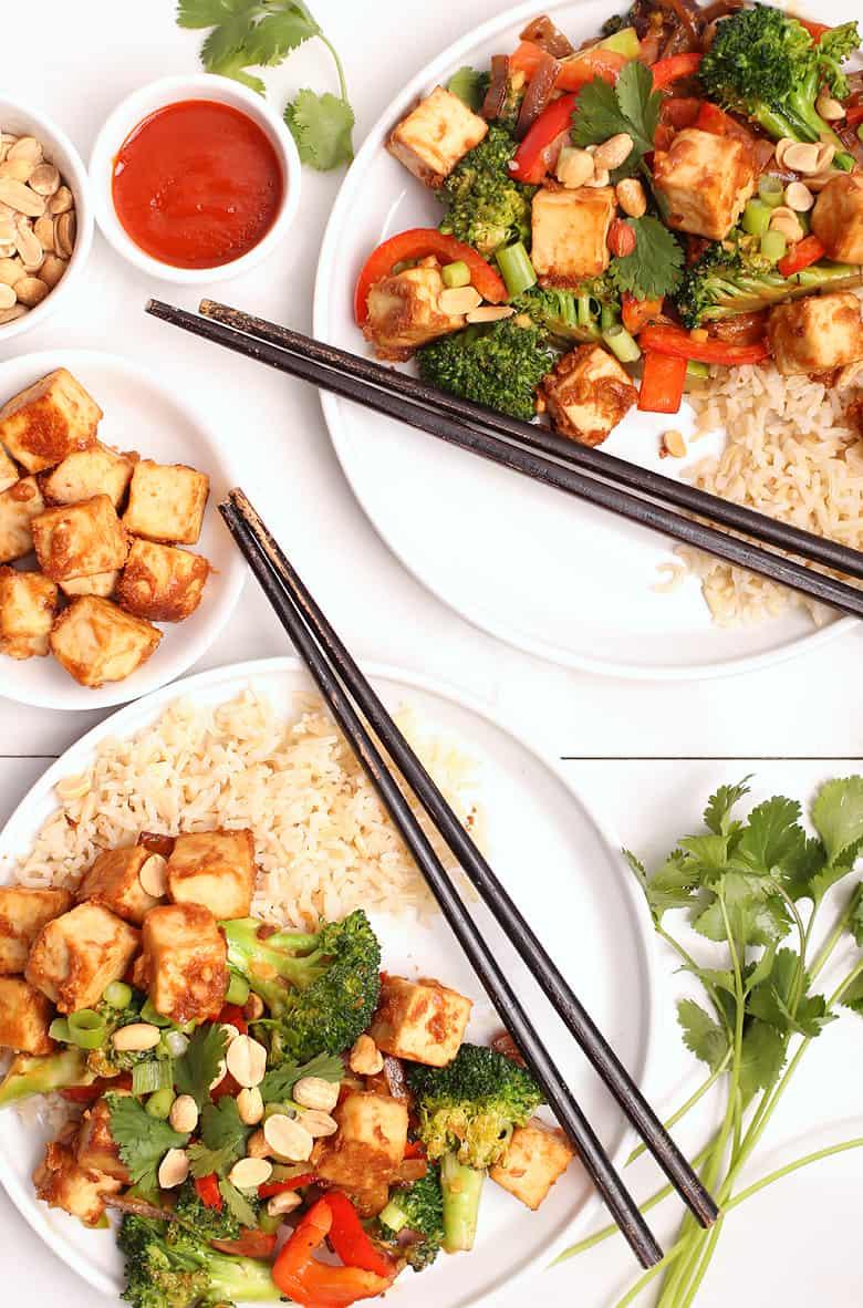 Tofu Stir Fry with Chopsticks