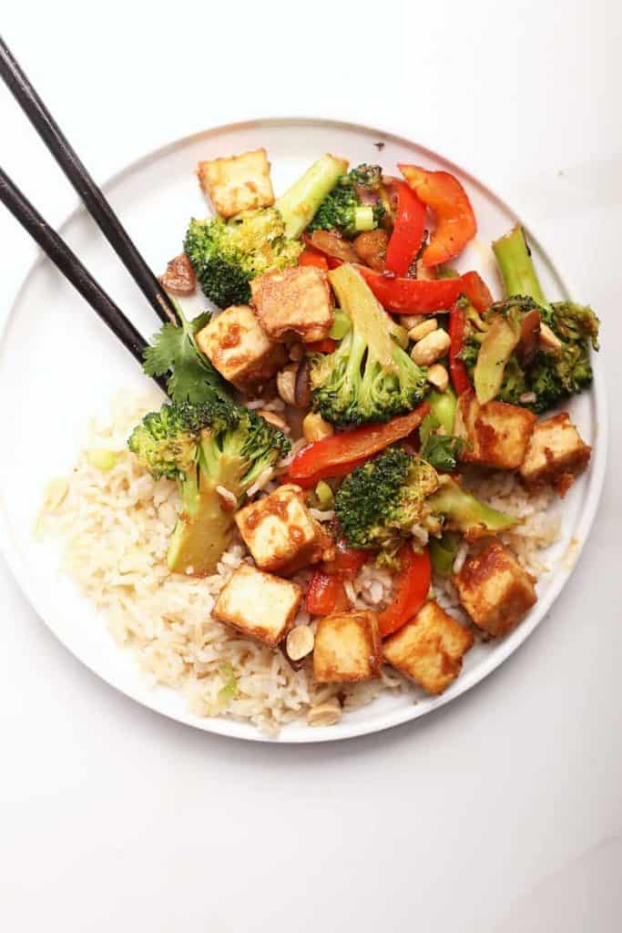 Tofu Stir Fry with broccoli and peppers
