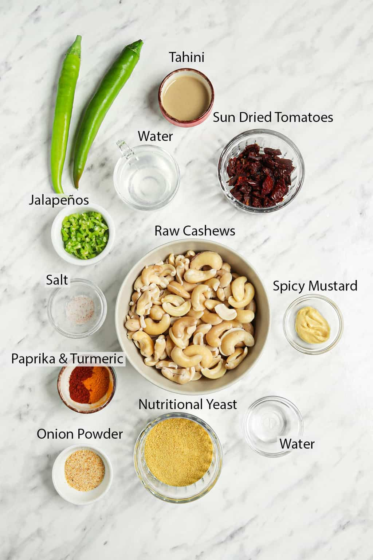 ingredients for vegan cheddar cheese