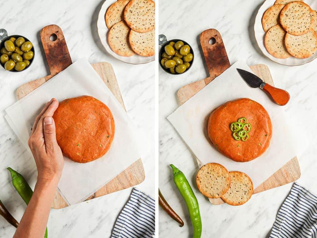 molding cheese into wheel