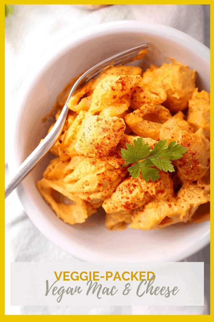 A Vegan Mac and Cheese you can feel good about feeding the kids! This classic pasta dish is made with a veggie-packed sauce and flavored with the perfect spice blend for a meal the whole family will love.