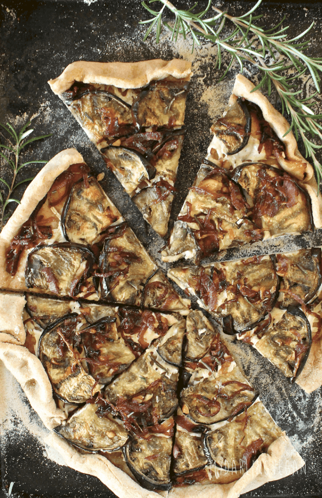 Grilled eggplant and caramelized onion pizza