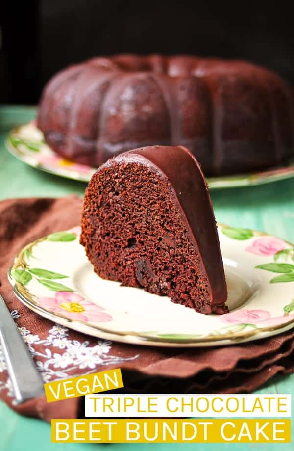 A dark and moist Vegan Triple Chocolate Beet Cake cake topped with rich chocolate glaze for a delicious chocolate-y dessert. #vegan #vegandessert #chocolate #cake #vegancake
