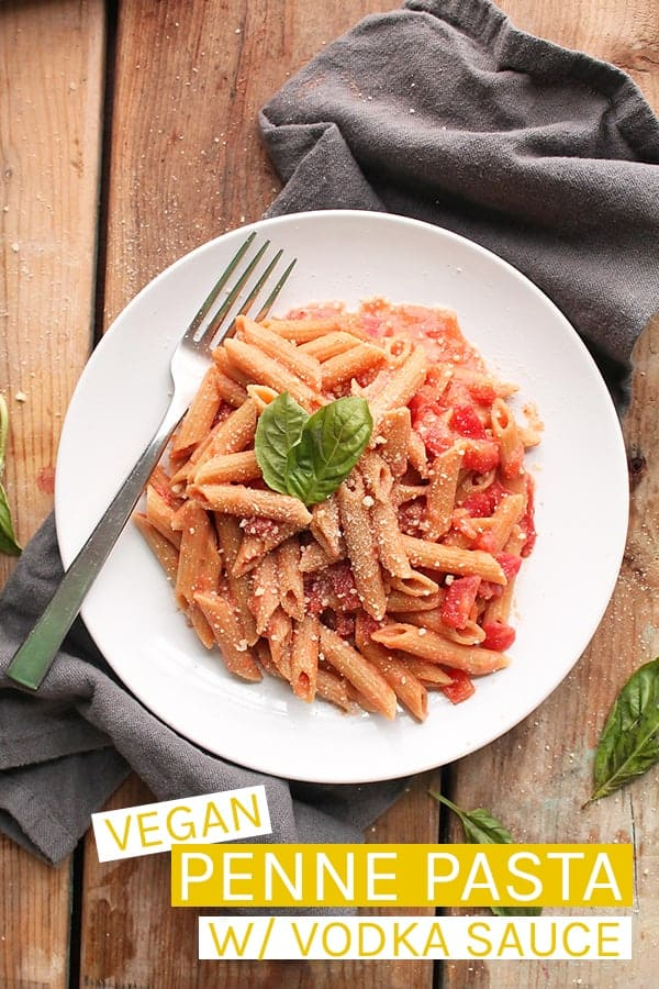 This Penne Pasta with Vegan Vodka Sauce is a delicious pasta dish made with tomatoes, cashew cream, and vodka for a simple yet decadent meal. #vegan #veganrecipes #pasta #romanticrecpes #veganvalentines