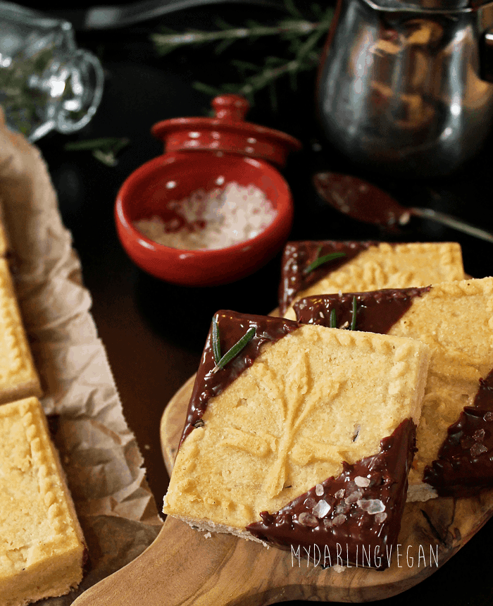 Chocolate Dipped Rosemary Shortbread Cookies