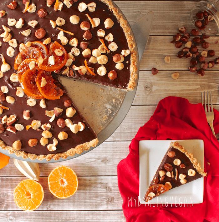 Chocolate Orange Hazelnut Truffle Tart | My Darling Vegan