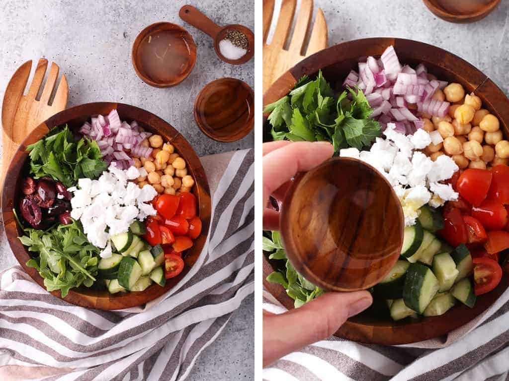 Finished salad in a wooden salad bowl