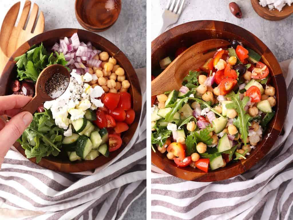 Finished Greek salad in a wooden salad bowl