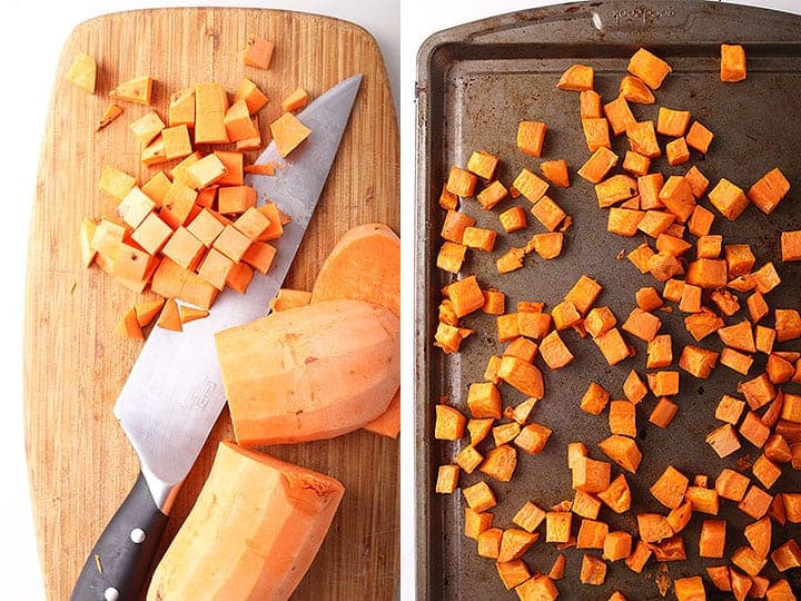 Chopped and roasted sweet potatoes