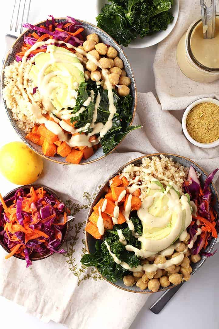 Vegan Buddha Bowls with Cheesy Garlic Dressing