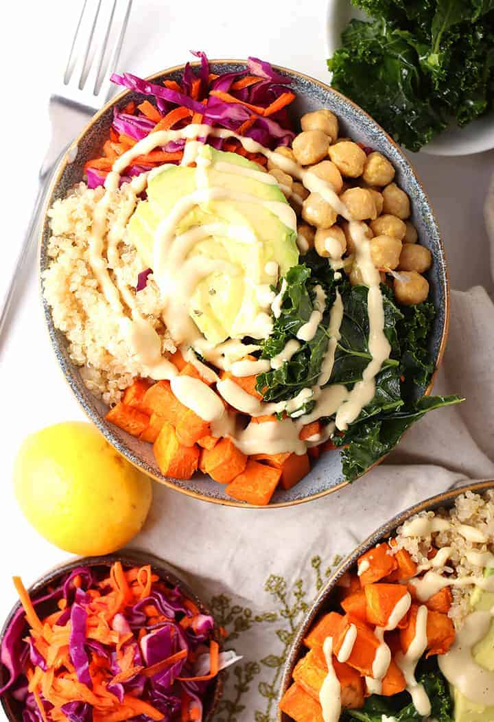 Close up of vegan Buddha Bowl