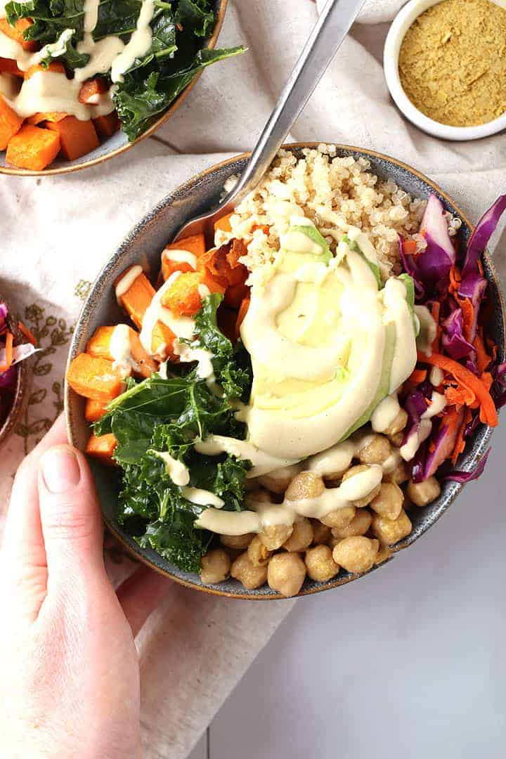 Vegan Buddha Bowl with cheesy garlic dressing