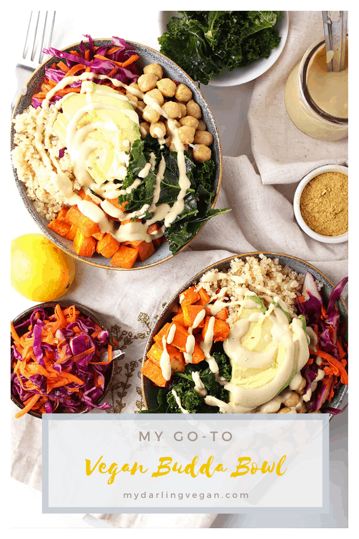 You're going to love this vegan Buddha Bowl. Filled with sweet potatoes, chickpeas, cabbage slaw, and kale, this bowl has it all. It's all topped with your choice of creamy garlic sauce or Thai peanut sauce for a healthy and delicious gluten-free meal.