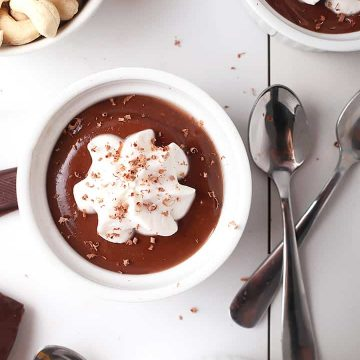 Vegan Pots de Creme in white ramekins