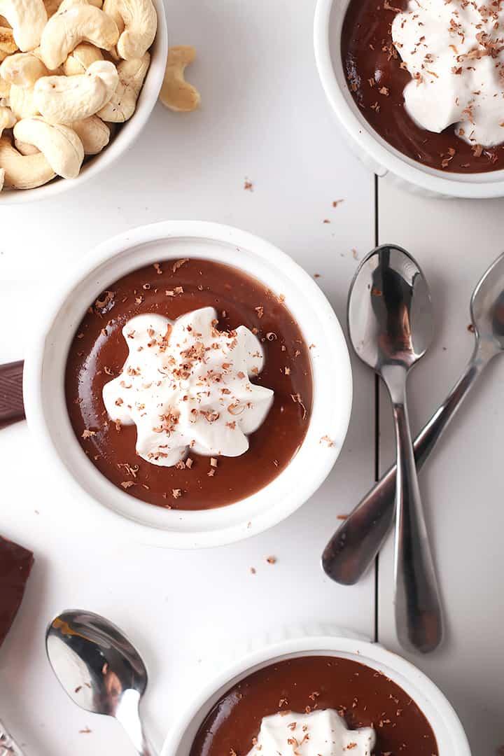 Vegan Pot de Creme in white ramekins