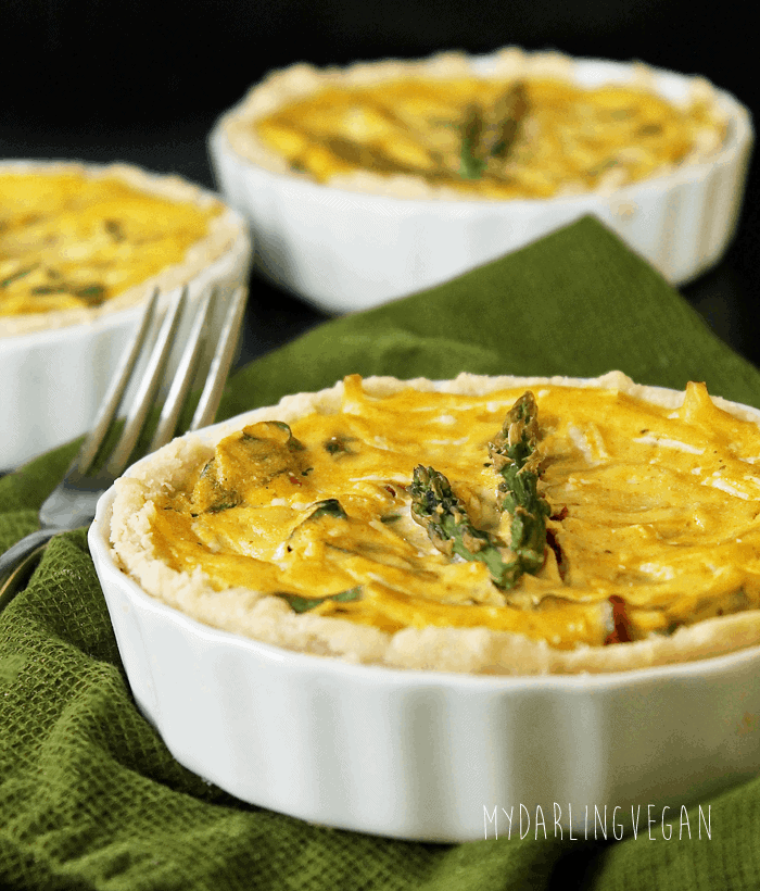 Vegan Sun-Dried Tomato and Asparagus Quiche