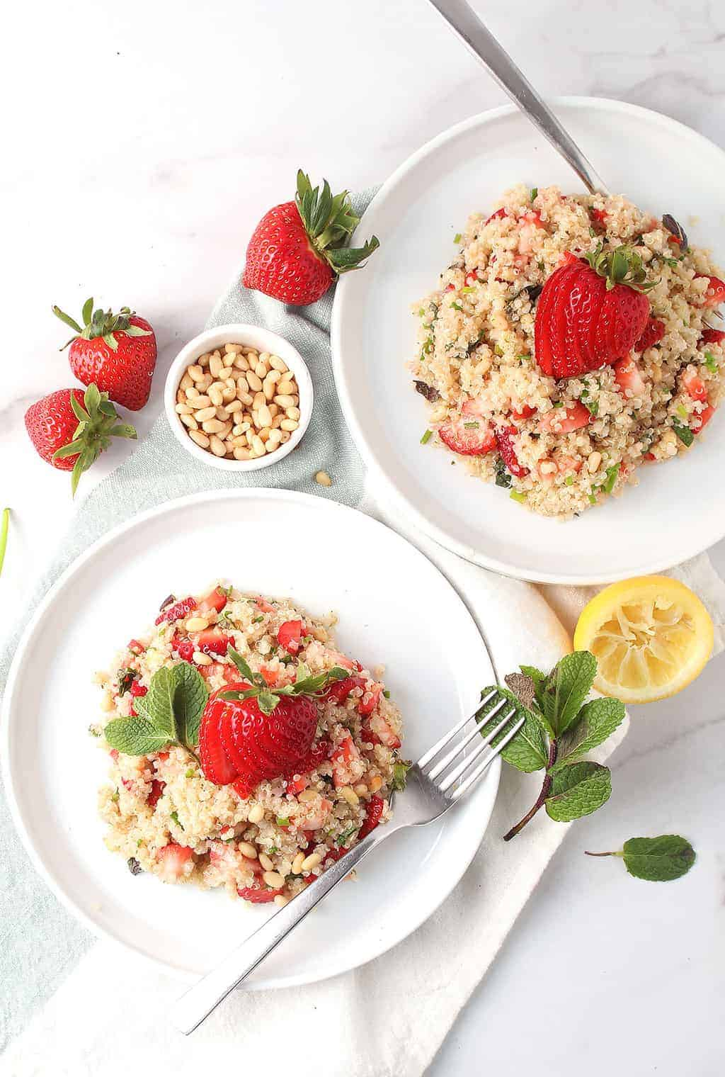 Two plates of Strawberry Quinoa Salad